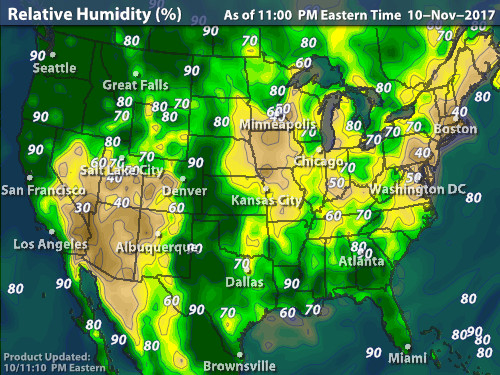 map of the united states with relative humidity levels