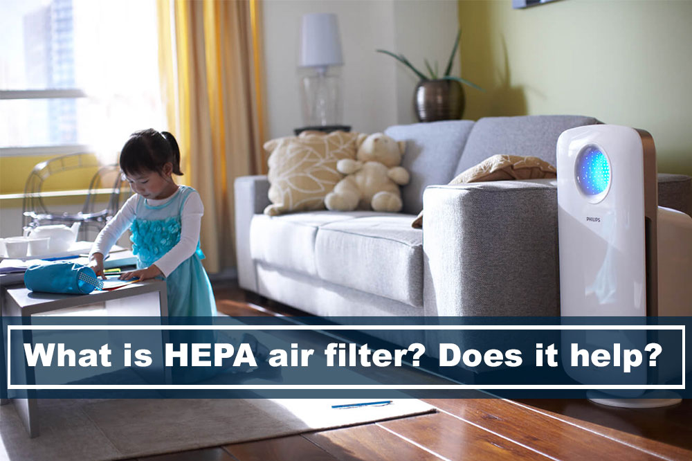 child playing in living room while air purifier is on