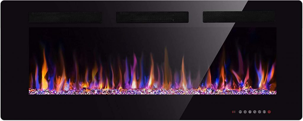 large electric recessed fireplace
